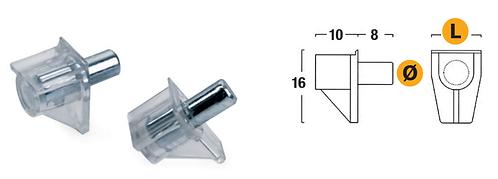Transparent shelf support Ø5 mm