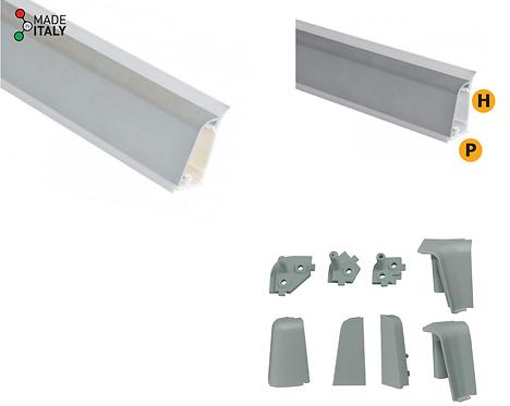 Alzatina PVC con foglio di alluminio satinato lunghezza 4000 mm