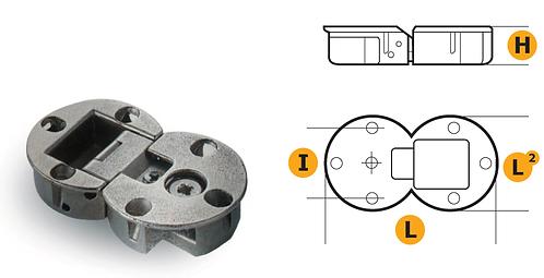 Zamak hinge for flap door with regulations - Nickel