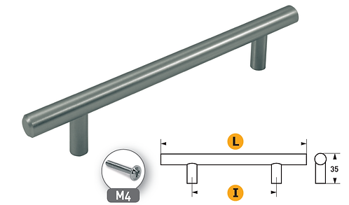 Maniglia in ferro mod. T Ø12- nickel sat.