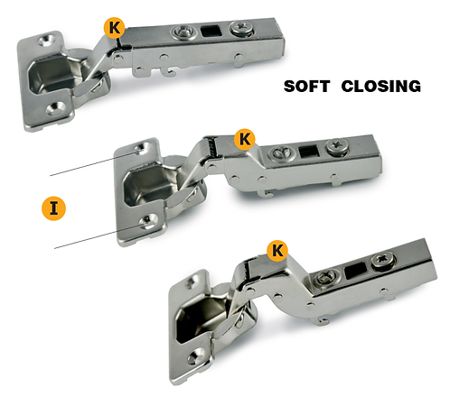 Clip-on hinges soft closing with regolations available with crank: 0 - 8 - 15