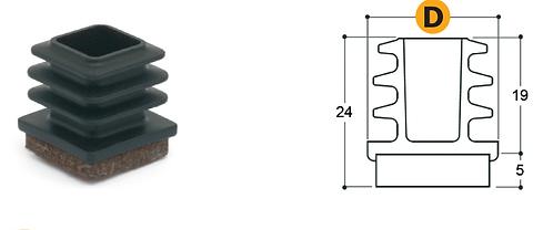 Puntale in plastica co-stampato con feltro marrone