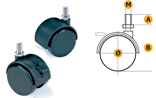 Nylon castor Ø40 W/Pin M8x12mm