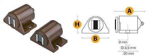 Chiusura magnetica regolabile, con basetta premontaggio
