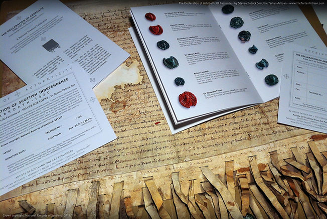 The Declaration of Arbroath 3D replica, a fine art facsimile complete with a signed and embossed certificate of authenticity, as well as a 16 page booklet with the full English and Latin translations of the script . . .  with further details on each of the surviving seals.