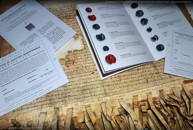 The Declaration of Arbroath 3D replica, a fine art facsimile complete with a signed and embossed certificate of authenticity, as well as a 16 page booklet with the full English and Latin translations of the script . . . with furtherdetails on each of the surviving seals.