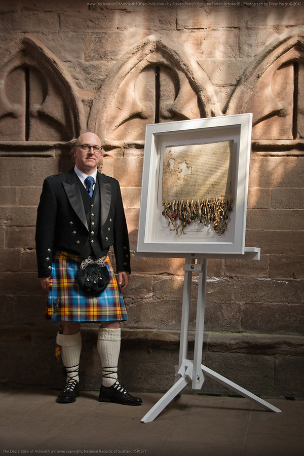 Steven Patrick Sim, with the Declaration of Arbroath 3D Facsimile, a collectible fine art edition. 100 life size copies