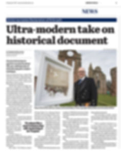 Ultra-modern take on Declaration - With the aid of a high resolution image he was able to take exacting measurements and digitally reassemble the medieval document which was in turn sent to a specialist laser cutter to be made from fine art paper and then finally hand-assembled by Steven.