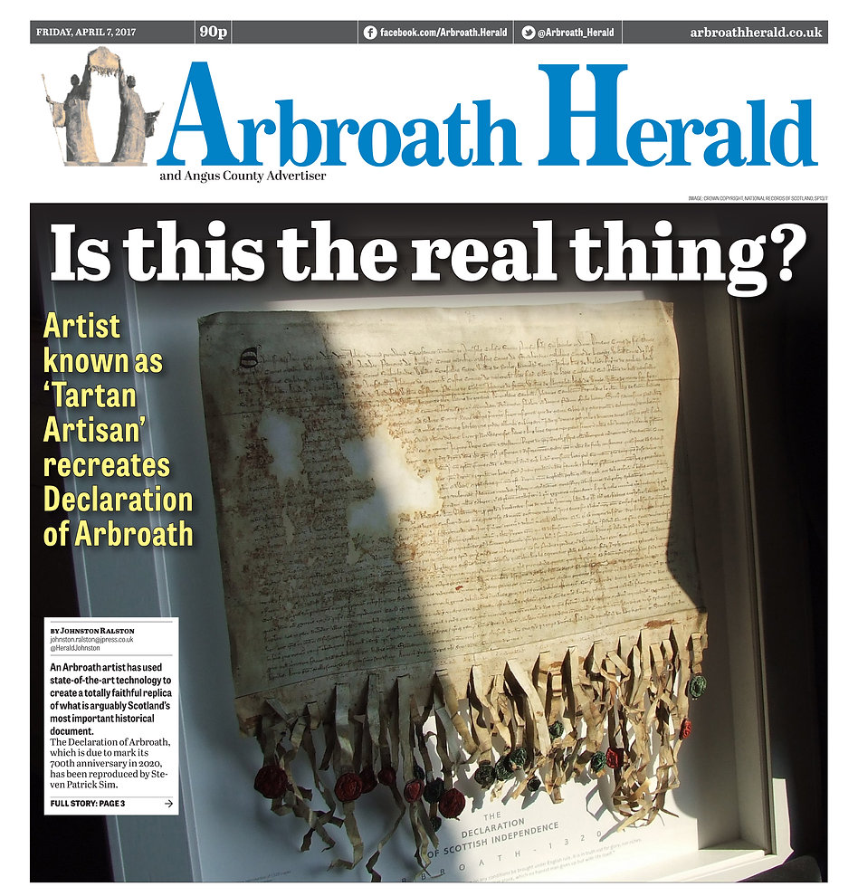 Is this the real thing? - A local artist has been inspired to recreate the almost 700-year-old Declaration of Arbroath using ultra-modern techniques. Steven Patrick Sim, AKA The Tartan Artisan, obtained permission to undertake the project from the National Records of Scotland.