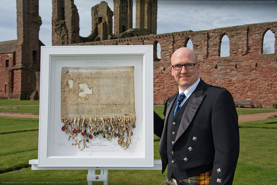 Steven Patrick Sim, creator of the Declaration of Arbroath 3D replica ...the official photo-shoot at the Arbroath Abbey, 3rd April 2017