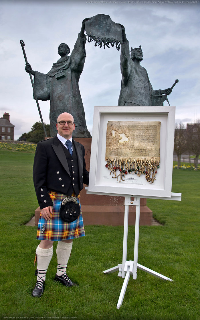 Steven Patrick Sim, at the Declaration Of Arbroath statue, Arbroath… the official photo-shoot of the Declaration Of Arbroath 3D Fine Art Replica. 3rd April 2017.