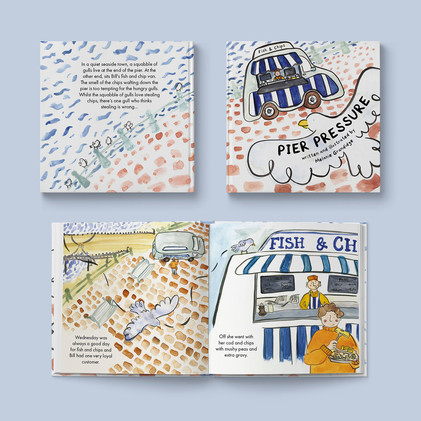 'Pier Pressure' picture book (Front cover and an inside page)