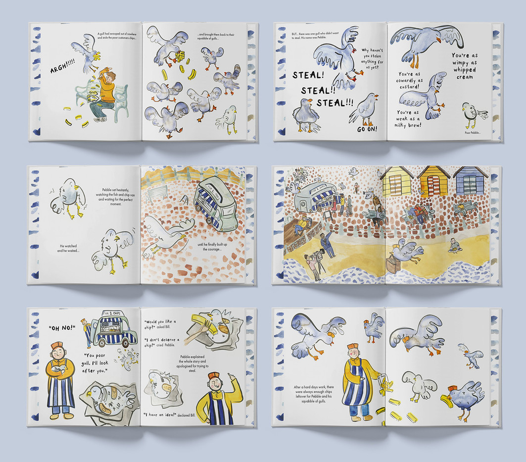 A selection of pages from my picture book called 'Pier Pressure'