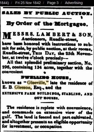 Mortgagee Sale Gleeville Fri 25 Nov 1842