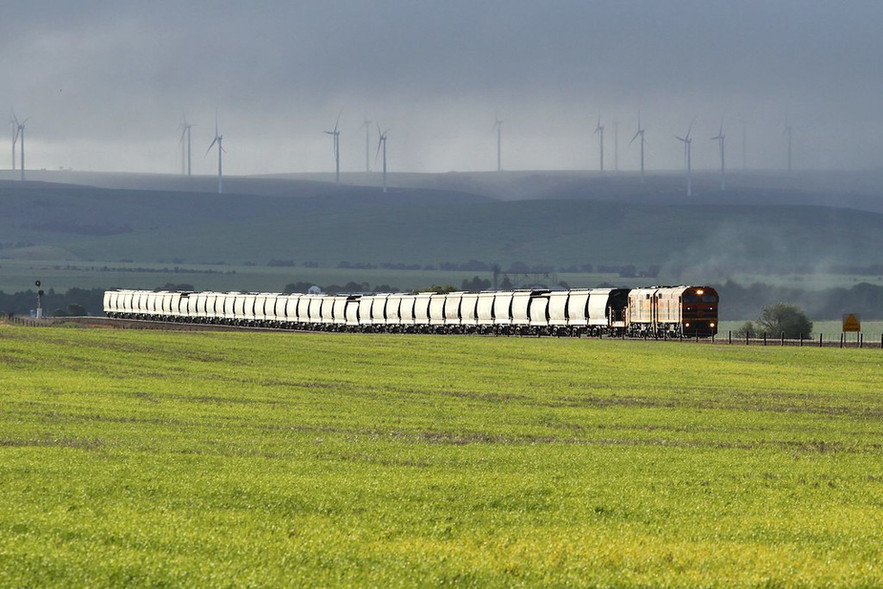 Loaded GWA Snowtown grain 4174s is seen powering upgrade out of Snowtown behind units 703 & 701 on Monday July 13th 2015.