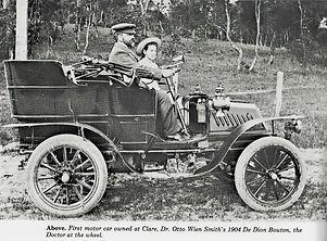 Dr Otto Wien Smith at the wheel of his 1904 De Dion, his 'Dear Daisy Belle'.