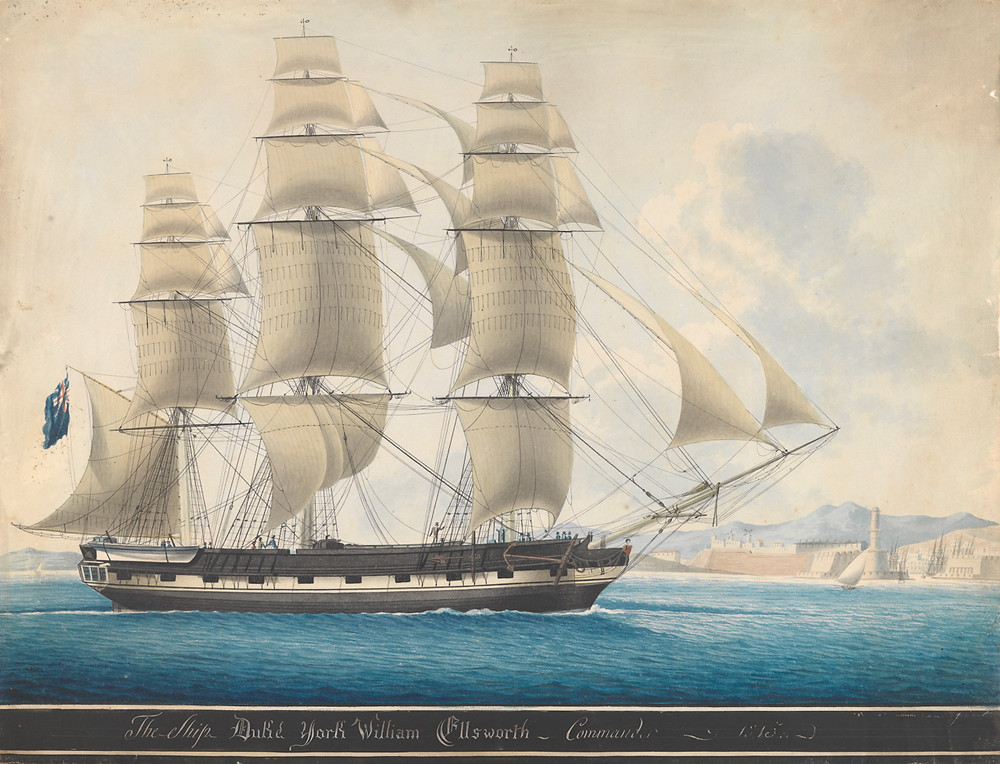 The Barque, Duke of York, a three-masted brig