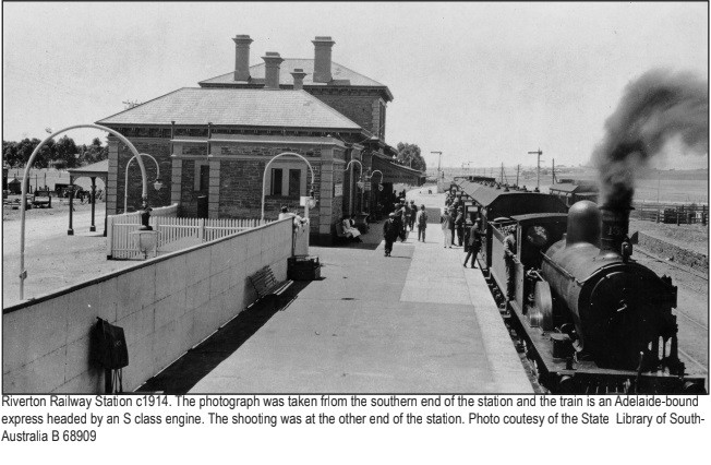 The Riverton Railway Station with the Adelaide-bound express train