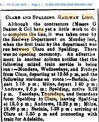 Clare and Spalding Railway Line 13 Jan,