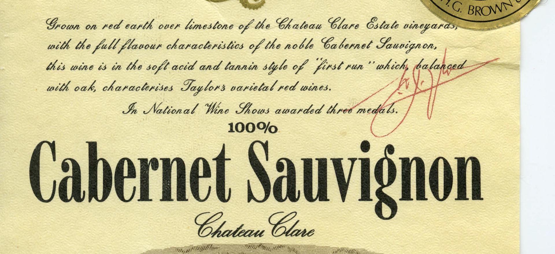 Taylors Cab Sav. 1974 label
