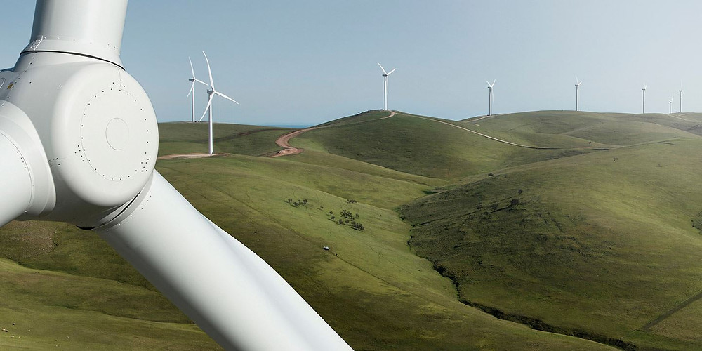 Wind Farm Turbines on the peaks of the Barunga Range, near Snowtown SA