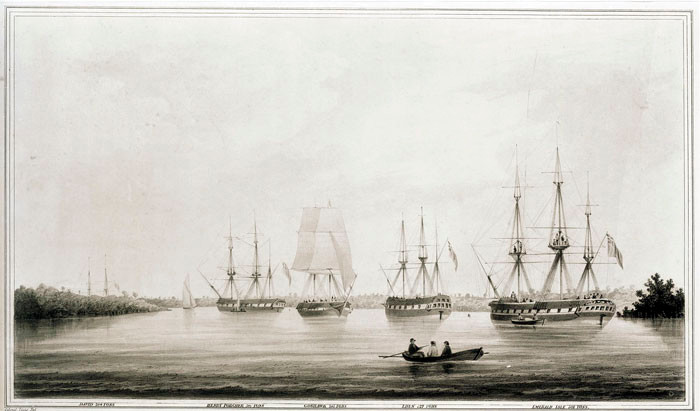 Far Right: The Emerald Isle at anchor In Port Adelaide  1839 - five sailing vessels