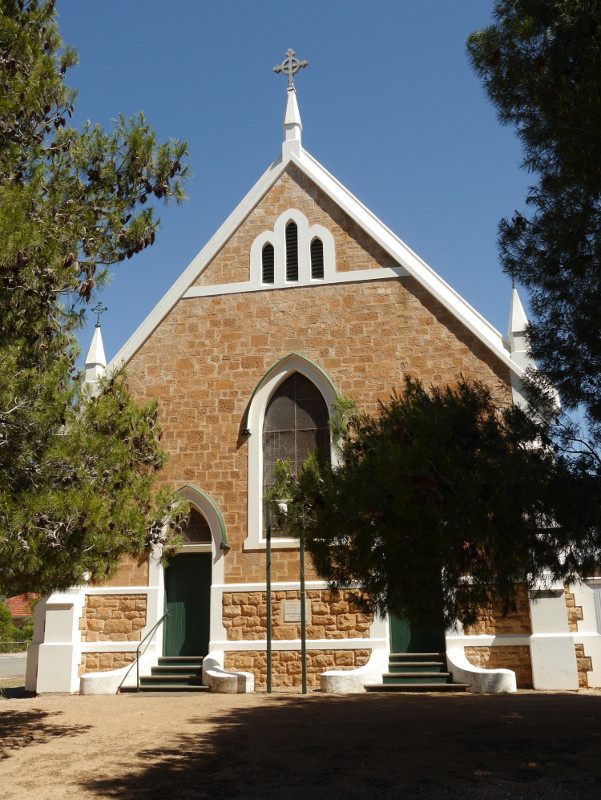 Snowtown Uniting church Foundation stone 9 Jun 1909 by Joseph Turner, architect Charles H Coltman, opened 9 Sep 1909