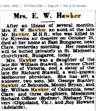 Mrs E.W. Hawker, obituary 4 Nov 1938.png