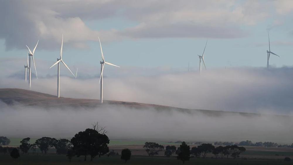 Cloud surrounds wind turbines near Snowtown in 2017