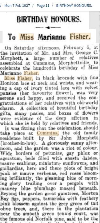 Miss Fisher Birthday Honours - SA Regist