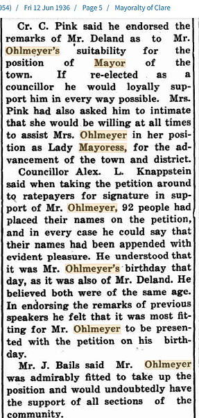 1936 Requestion to JW Ohlmeyer as Mayor