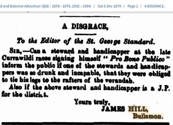 Steward A Disgrace - letter from James H