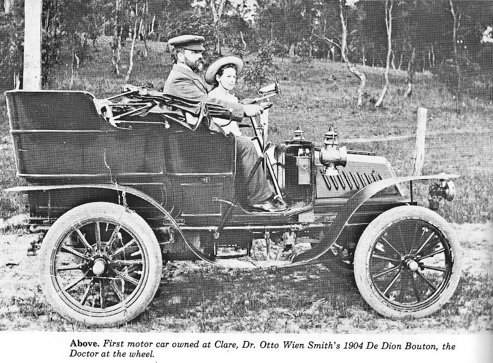 Dr Otto Wien Smith of Clare at the wheel of his 1904 motor car, a De Dion Bouton