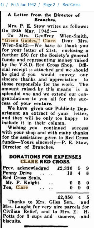 Red Cross Letter to Mrs G. Wien Smith 19