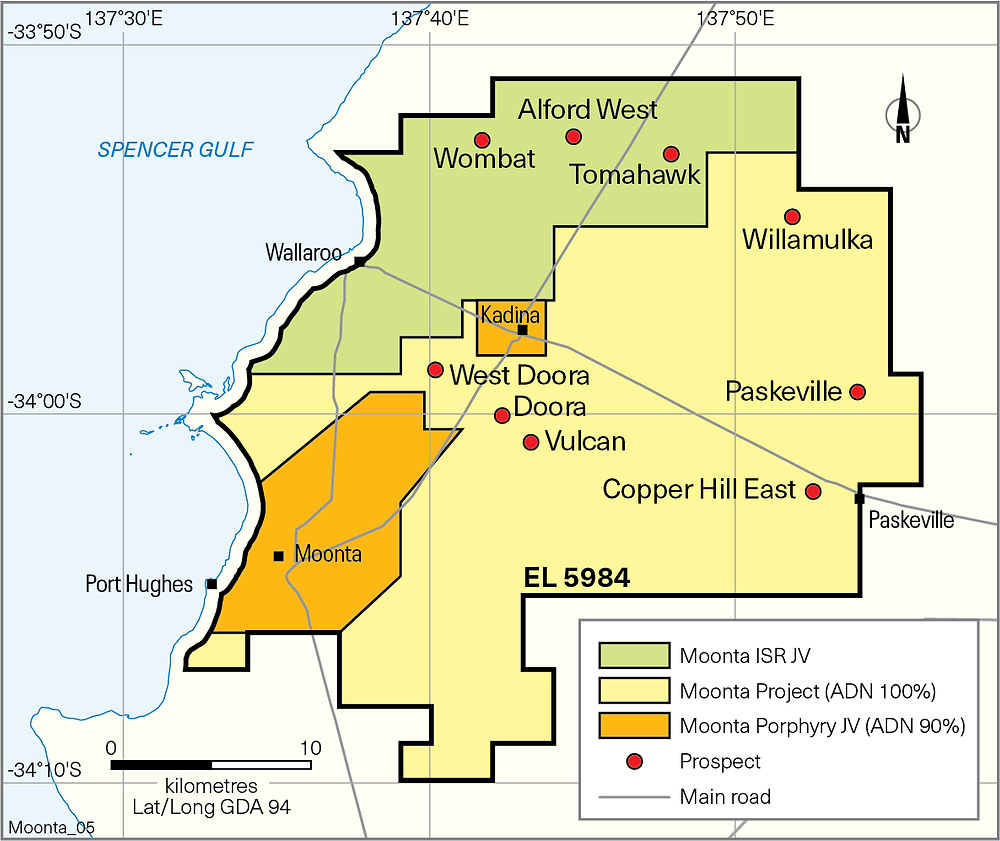 Sketch map of the copper mines around Wallaroo SA