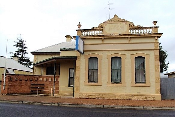 Snowtown. The former English Scottish and Australian bank built in 1883. The gable was redesigned and altered around 1900.