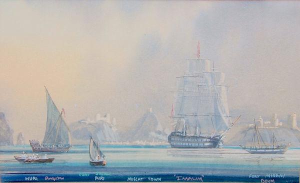 THE SHIP IMAUM IN MUSCAT HARBOR, 1836 ThompsonIMG_4910_1024x1024.jpg