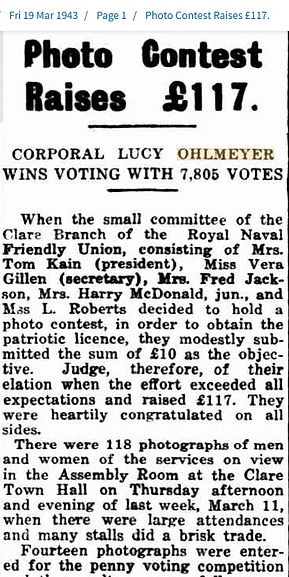 1943 Corporal Lucy Ohlmeyer wins voting.