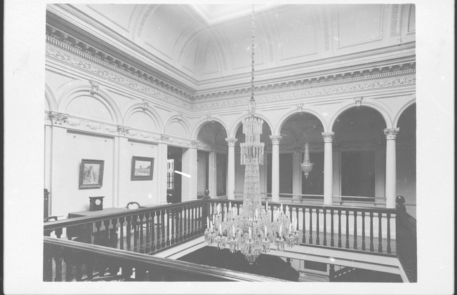 Martindale Hall the balcony and main chandelier which now hangs in Ayers House. B-46420.jp