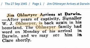 Sept 1945 Jim Ohlmeyer arrives at Darwin