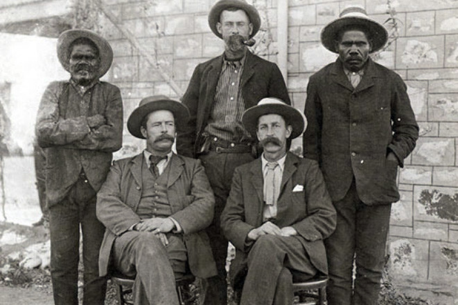 Francis J. Gillen (front left) and W. Baldwin Spencer (front right) at Alice Springs, Northern Territory, in 1901. The men in the back row are (from left) Erlikiliakira, Mounted Trooper Chance and Purula. Museum Victoria
