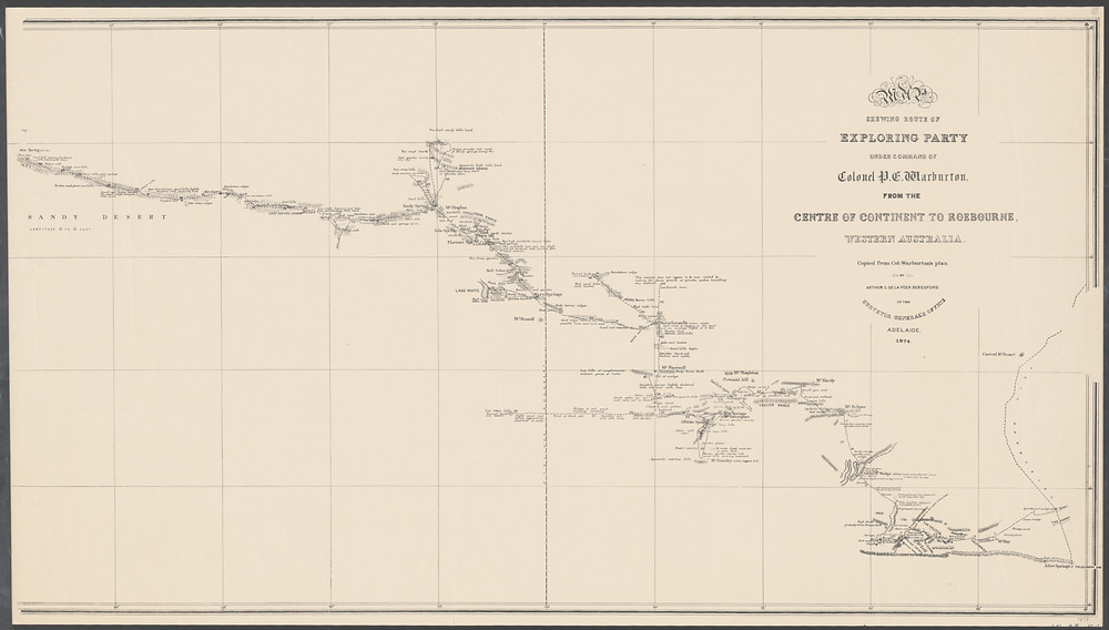 1874 Map shewing route of exploring party under command of Colonel P.E. Warburton
