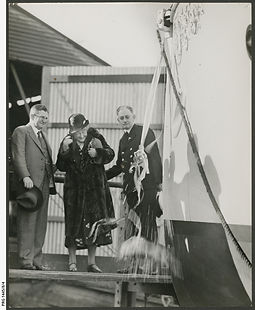 Mrs R.F. Mortlock christens her son's new boat MY 'Martindale' PRG-1445-8-4.jpeg