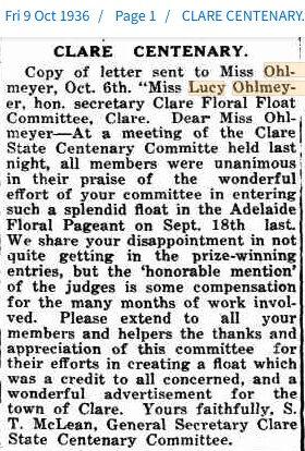 1936 Lucy Ohlmeyer thanked for Clare Cen