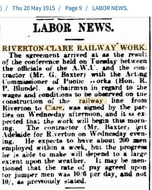 Labor News Riverton Clare Railway 20 May