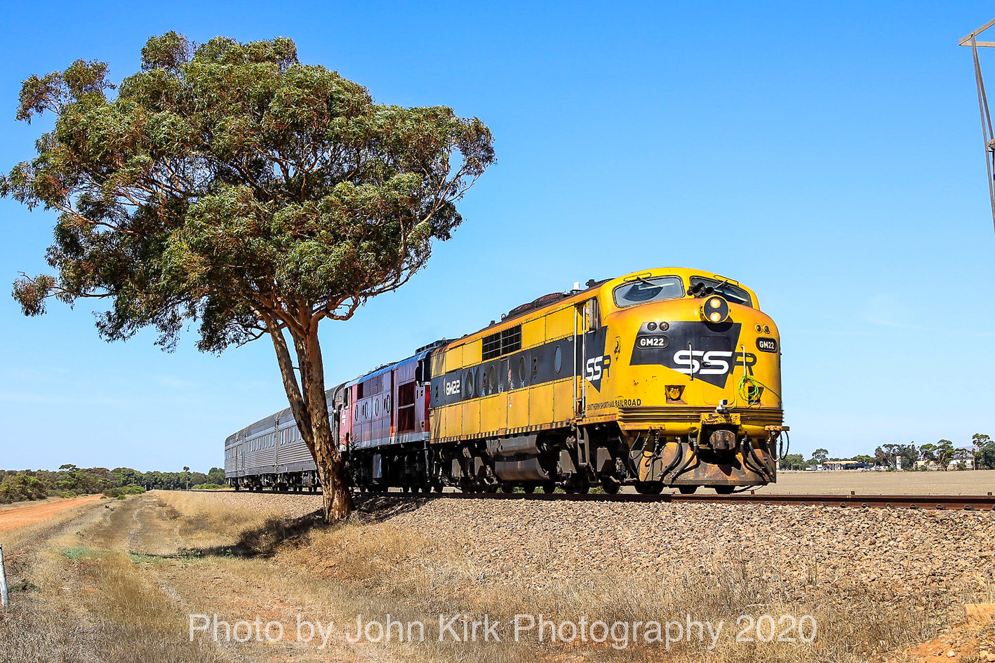 A lone left-leaning tree frames veteran Bulldogs GM22-42103 and the ARTC AK test cars as they head north from Snowtown