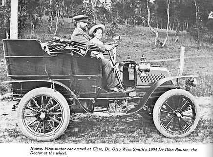 Dr Otto Wien Smith at the wheel of his 1