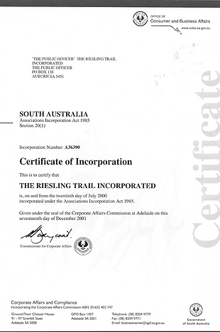 Reisling Trail Certificate of Incorporation 17 Dec 2001.png