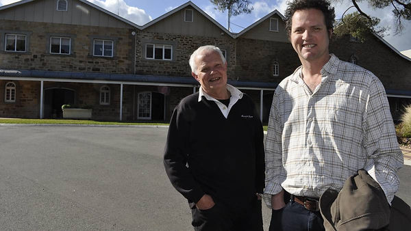 Annie's Lane Cellar Door Manager Grant Thomas, with wine maker Alex MacKenzie, outside the iconic Quelltaler winery