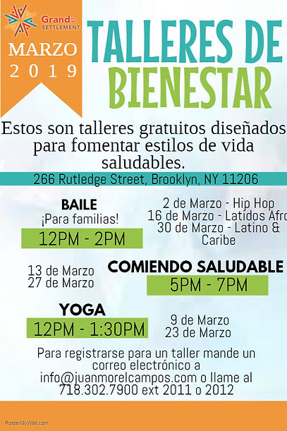Wellness Workshops Mailing Flyer Spanish